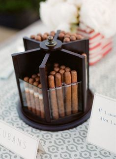 From a Beer Bar to a Cigar Bar: 5 Cool Reception Ideas Your Groom Will Love - Fun Wedding Wedding Events, Our Wedding, Dream Wedding, Cigar Bar Wedding, Wedding Ideas For Groom, Open Bar Wedding, Cigar Party, Wedding Reception, Wedding Stuff