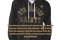 b520e915e New Orleans Saints G-III Sports by Carl Banks Varsity Fleece Full-Zip Hoodie  - Black