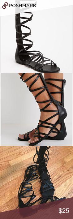 Forever 21 straps mid calf gladiator sandals Forever 21 mid calf gladiator sandals. Like new only worn once! Forever 21 Shoes Sandals