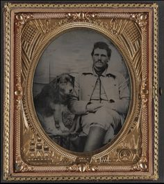 An unidentified soldier in a Union uniform with a dog, from the Liljenquist Family Collection of Civil War Photographs in the Library of Congress.  The steadfast friendship of dogs like this one was a great help to the soldiers' morale during the Civil War, just as the presence of dogs helps American soldiers in war zones today. War has certainly changed in 150 years, but the relationship between soldiers and their dogs has not. It is a bond like no other.