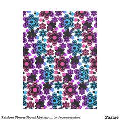 Rainbow Flower Floral Abstract Girl Fleece Blanket
