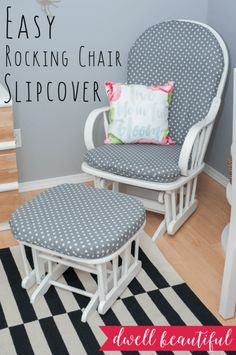 Make a rocking chair slipcover easily - even if you are a novice sewer! This DIY tutorial is meant for beginners and shows that sewing isn't so scary after all! Perfect for a nursery or bedroom corner!