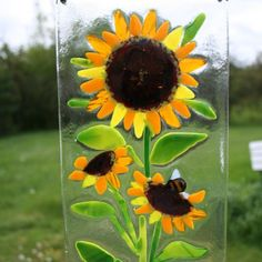 Sunflower fused glass panel by ArtoftheMoment on Etsy