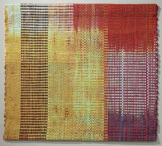 "Ann Roth. ""Here"" (2011) Cotton: hand-dyed shibori warp, hand-dyed ikat weft; handwoven; 32"" x 28"". Via Tsgnyblog.org"