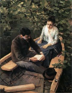 (IMPRESSIONISM) In the Boat Artist: Konstantin Korovin Completion Date: 1888 Style: Impressionism Genre: genre painting Technique: oil Material: canvas Dimensions: 43 x 53 cm Gallery: Tretyakov Gallery, Moscow, Russia