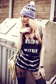 Funny how a melody sounds like a memory (by Lina ♡) - Bag, Beanie, Boots, Shorts, Top, Flower Anklet, Tights | LOOKBOOK.nu
