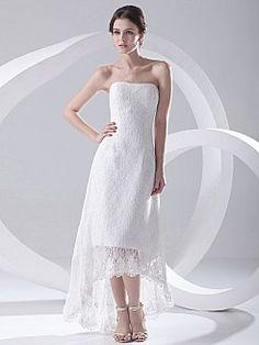 Strapless Allover Lace Hi Lo Wedding Dress - AUD AU$189.30