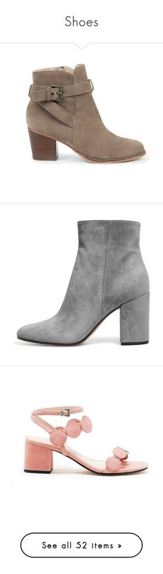 """""""Shoes"""" by govpeeper ❤ liked on Polyvore featuring shoes, boots, ankle booties, dark taupe, strappy ankle boots, block heel booties, chunky-heel ankle boots, strappy booties, suede ankle booties and zip booties"""