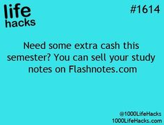 """Your Study Notes: """"Need some extra cash this semester? You can sell your study notes on """" – life hacks via 1000 Life Hacks college student tips School Life Hacks, College Life Hacks, School Study Tips, College Tips, School Tips, My School Life, College Checklist, Med School, High School"""
