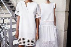 Pin for Later: Wir werden nie müde, uns Zaras Lookbooks anzuschauen Zara April/Mai Lookbook Kauft den Look:  Cotton Poplin Cutout Dress ($80) Combination Top ($50) Laser-Cut Skirt ($80) Photo courtesy of Zara