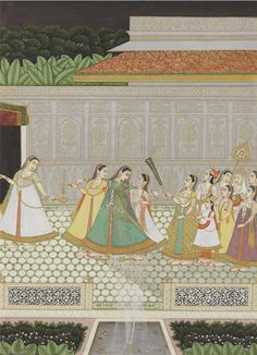 Navodha Nayika: The Young Bride Being Led To Her Husband India, Rajasthan, Jaipur, late century: Mughal Miniature Paintings, Mughal Paintings, Indian Paintings, Vintage Paintings, Rajasthani Painting, Rajasthani Art, Indian Traditional Paintings, Indiana, Old Art