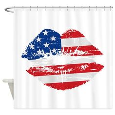 American Flag Lips Shower Curtain