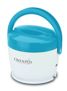 This is pretty much the coolest thing ever....It's a LunchCrock: warms leftovers, heats up soup, slow cooks anything by lunchtime. Spill-proof, cool exterior, cord storage, dishwasher safe