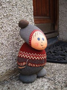 Cutest doorstop gnome Completely Icelandic, down to the traditional patterning of the Icelandic woolen jumper and volcanic rock. They didn't have any banker gnomes getting put into gnome jail though. Stone Crafts, Rock Crafts, Crafts To Make, Fun Crafts, Crafts For Kids, Arts And Crafts, Pebble Painting, Pebble Art, Stone Painting