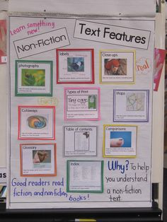 terrific anchor chart on nonfiction text features. Includes printables so you can make your own!a terrific anchor chart on nonfiction text features. Includes printables so you can make your own! Reading Lessons, Teaching Reading, Teaching Ideas, Guided Reading, Library Lessons, Library Ideas, Reading Activities, Literacy Activities, Nonfiction Activities