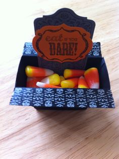 Sept. 24 -- Feeling Halloweeny. Made this candy coffin at my monthly Stampin' Up card making class with Tami Waddell.