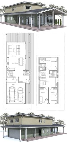 Modern House to narrow lot. Floor Plan from ConceptHome.com