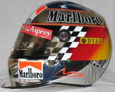 Michael Schumacher - 1998 japanese GP helmet Racing Helmets, F1 Racing, Motorcycle Helmets, Michael Schumacher, Custom Helmets, Custom Bikes, Sport Cars, Race Cars, Helmet Paint
