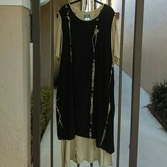 SOUTHWESTERN/TRIBAL CASUAL WEAR Full-length dress of southwestern motif in black and beige, patterned under-sheath of beige, attached at the neck, with a 3/4 black over-sheath - split sides with button detail.  Size 2X - Elegant. Simply Southwest Dresses Maxi