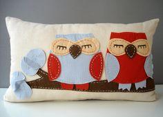 Sukan / Owls - Linen Pillow cover  - 12x20. $52.95, via Etsy.