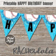 Baseball Pool Party Banner, Instant Download