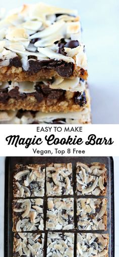 No mixing bowl or spoon required to make these super-easy vegan allergy-friendly buttery salty chocolaty bars. Just layer and bake. Vegan Dessert Recipes, Delicious Vegan Recipes, Dairy Free Recipes, Delicious Desserts, Healthy Desserts, Gluten Free, Vegetarian Recipes, Cookies Healthy, Easy Vegan Cookies