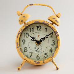 Yellow Vintage Style-Magnet Clock at Cost Plus World Market >>#WorldMarket Maison De Artistes Collection