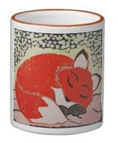 Sleepy Fox Mug; Abigail Davidson Art