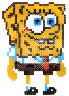 Spongebob / Hama perler beads / Bügelperlen Omg so necessary Perler Beads, Perler Bead Art, Pearler Bead Patterns, Perler Patterns, Art Perle, 8bit Art, Hama Beads Design, Fusion Beads, Iron Beads