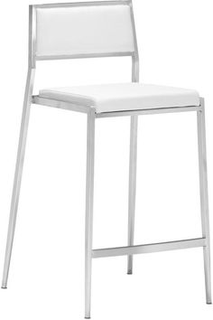 Zuo Modern 300189 Dolemite Counter Chair Color White Brushed Stainless Steel Finish - Set of 2
