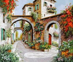 Wall Art - Painting - Tre Archi by Guido Borelli Artist Painting, Painting & Drawing, Italy Painting, Belle Image Nature, Beautiful Paintings, Painting Inspiration, Art Pictures, Landscape Paintings, Landscape Wallpaper