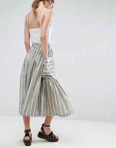ASOS Stripe Midi Skirt with Oversized Pocket - Green