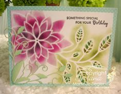 by Stamping with Bibiana: Flower Peony Stencil with molding paste and beads! using the new 2014 release of dies and stencils of Memory Box