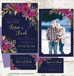 Boho floral wedding invitation in dark colors with burgundy and navy blue.  Gold and lavender accents.  Pretty winter colors with wedding engagement photo.  LDS wedding announcement with sealing invitation and luncheon invitation.