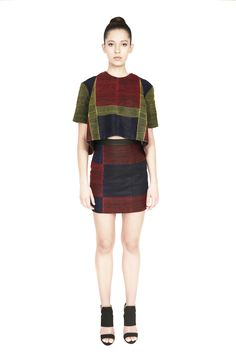 All eyes on the Sironi skirt by Morphe - highlighted by its abstract checkerboard colourblocking, this piece fits well. Zips up at the back. Morphe, Tartan Pattern, Rocker Chic, Blouse Vintage, Red And Blue, Zip Ups, High Waisted Skirt, Personal Style, Crop Tops