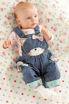 Newborn Clothing - Baby Clothes and Infantwear - Next Cat Denim Ruffle Dungarees And Pink Bodysuit Two Piece Set - EziBuy New Zealand