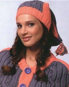 Вязаная шапка кораллового цвета