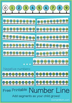 Free Printable Number Line: Add Segments as Your Child Grows. Best one I have found