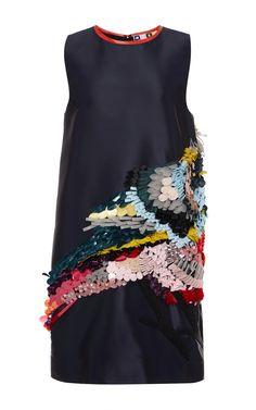 MSGM Technical Duchesse Sequined Bird Dress by MSGM for Preorder on Moda Operandi