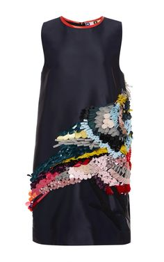 Technical Duchesse Sequined Bird Dress by MSGM for Preorder on Moda Operandi