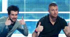 Jack Whitehall and Andrew Flintoff: set to step up to the oche