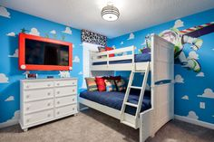 """""""To infinity and beyond!"""" Kids can go on adventures with Buzz, Woody, Jessie and other Toy Story pals in this adorable themed bedroom at 9150 Scramble Dr. Check out the custom Etch A Sketch frame on the TV."""