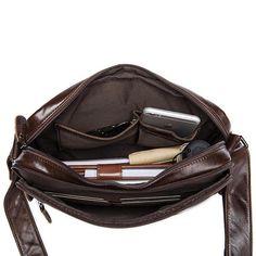 Handmade Vintage Leather Shoulder Bag, Men's Zipper Genuine Leather Messenger Bag 8876