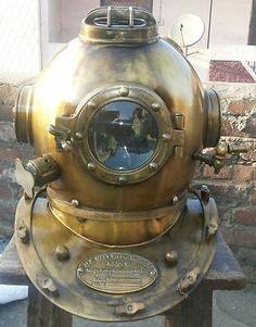 """Antique Scuba SCA Divers Diving Helmet US Navy Mark V Deep Sea Marine Divers 18"""" - http://scuba.megainfohouse.com/antique-scuba-sca-divers-diving-helmet-us-navy-mark-v-deep-sea-marine-divers-18-6/"""