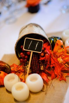 one of our centerpiece styles, fall wedding table decor