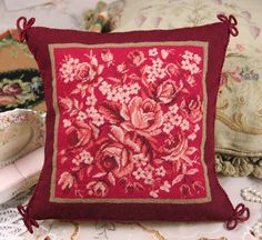 Red Rose Hand Woven Wool Whole Petit Point Woolen Needlepoint Pillow Cushion Sham #2 by needlepointonline on Etsy