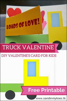Truck Valentine's card for kids to make (Free Printable Template)