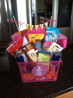 Off to college gift basket, study gift basket, graduation gift basket