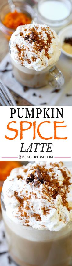 Delicious and Easy Pumpkin Spice Latte Recipe - As good as Starbucks' and easier on the wallet! Gluten Free Recipe http://www.pickledplum.com/pumpkin-spice-latte-recipe/