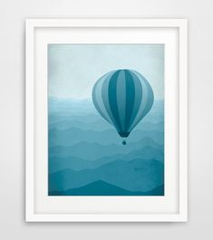 Hot Air Balloon, Nursery Decor, Kids Wall Art, Baby Boy Nursery, Whimsical Art on Etsy, £12.18